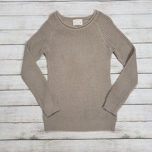 Ambiance light brown tan waffle knit sweater small